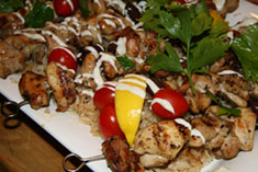 Chicken Souvlaki with Rice Pilaf
